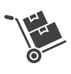 Hand truck with cardboard boxes glyph icon vector