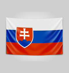 Hanging flag of slovakia slovak republic vector