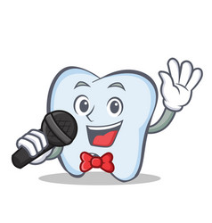 karaoke tooth character cartoon style vector image vector image