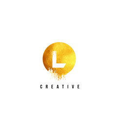 L gold letter logo design with round circular vector