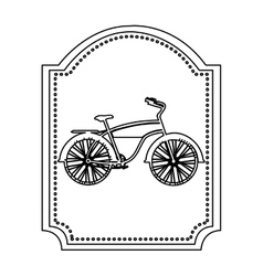 Monochrome silhouette of classic bicycle in frame vector