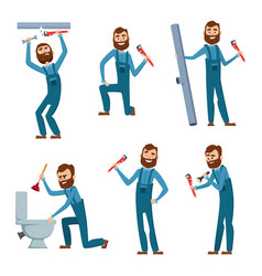 plumber at work characters design set vector image vector image