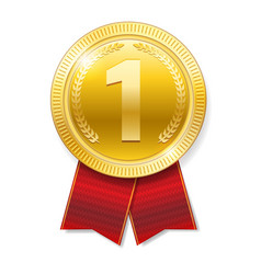 realistic gold medal with red ribbons for winner vector image vector image