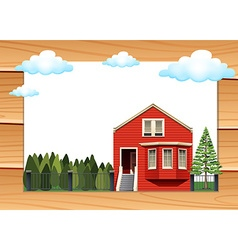 Red house on the wooden wall vector
