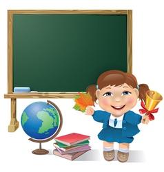 School board school girl and globe vector image