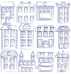 Set of buildings outlined houses vector