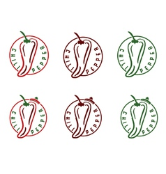 set of chili pepper emblems vector image