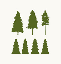 Set of tree silhouettes for logo vector