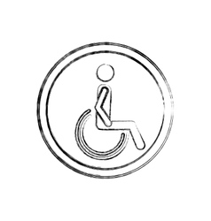 silhouette blurred with person sitting wheelchair vector image vector image