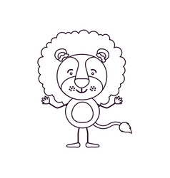 Sketch contour caricature of cute lion tranquility vector