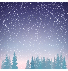 Snowfall in the forest vector