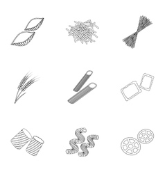 Types of pasta set icons in outline style big vector