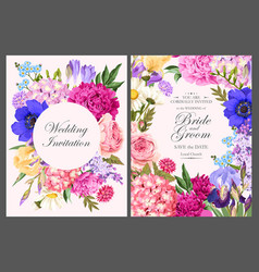 Vintage card with garden flowers vector