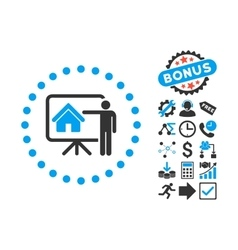 Realtor presentation flat icon with bonus vector
