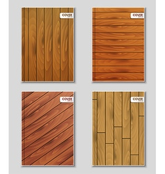 Set of covers with wooden texture vector