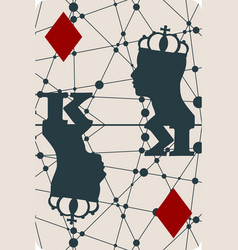 king of diamonds playing card design vector image