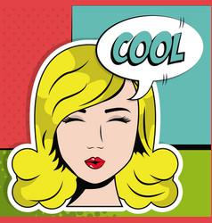 Blonde girl close eyes cool bubble speech pop art vector