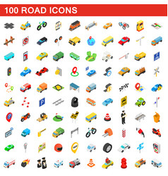 100 road icons set isometric 3d style vector