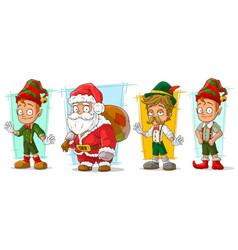 Cartoon santa claus and elf character set vector