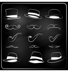 set of hipster elemetns drawn with chalk vector image