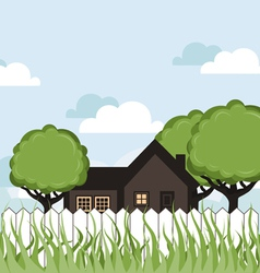 House in a garden vector