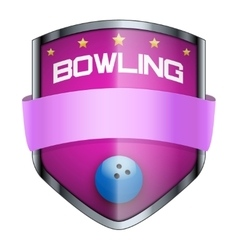 Bowling shield badge vector