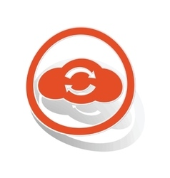 Cloud refresh sign sticker orange vector