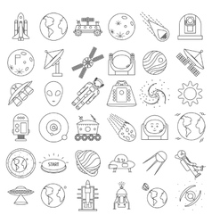Set of outlined space equipment icons ufo vector