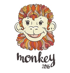 Vintage ornamental and decorative monkey symbol of vector