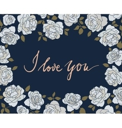 Hand drawn card with light roses on dark blue vector