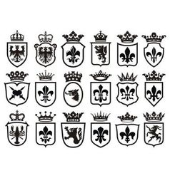 Coat of arms set heraldic element vector