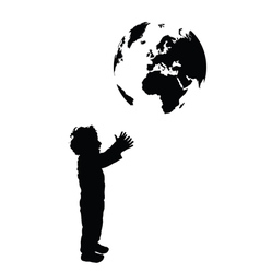 Boy with planet earth silhouette vector