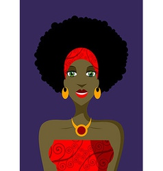 Afro woman with green eyes vector image