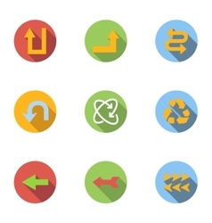 Arrow icons set flat style vector