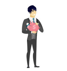 Asian groom holding a piggy bank vector