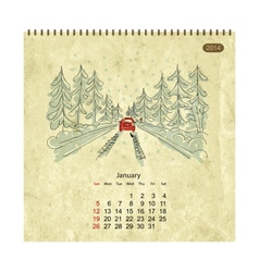 Calendar 2014 january Streets of the city sketch vector image vector image