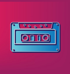 Cassette icon audio tape sign blue 3d vector