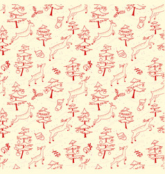 Christmas seamless pattern with cute deers in vector