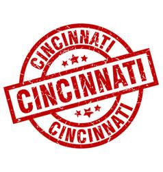 Cincinnati red round grunge stamp vector