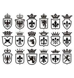 Coat of Arms set heraldic element vector image