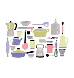 Cookware set on white background stylized hand vector