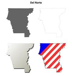Del norte county california outline map set vector