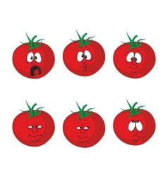 Emotion cartoon red tomato vegetables set 007 vector image vector image