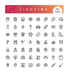 Fighting line icons set vector
