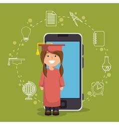 Girl standing education online smartphone design vector