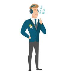 Groom listening to music in headphones vector