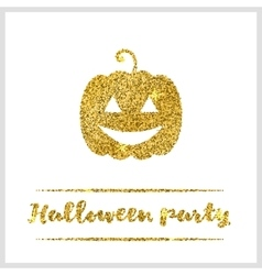 Halloween gold textured pumpkin icon vector image
