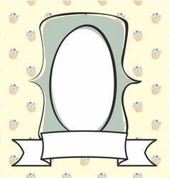 Hand drawn mint green frame on cake background vector image vector image