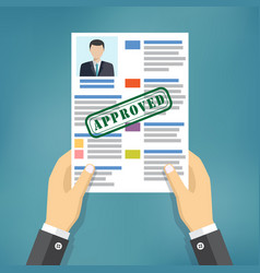hand holding approved resume vector image