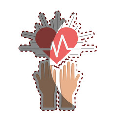 Hands with heartbeat vital sign up vector